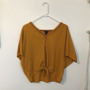 Batwing button up tie front yellow top